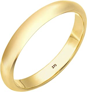 Elli Premium 0612260814 Women's Classic Stacking Ring Wedding Ring 9 Carat Yellow Gold