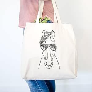 里约骑马加厚 * 纯棉帆布手提袋购物可重复使用的杂货袋 14.75 x 14.75 x 5 Cotton Canvas Printed 1 Side TOTE-Rio-Horse-1-side