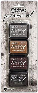Ranger Distress Archival Mini Ink Kit 3-Hickory 烟雾/复古照片/地深咖啡色/黑色磨砂,多种,4 个衬垫