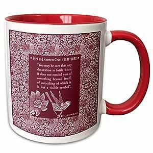 3dRose Russ Billington 设计 - 美丽的金茨图案和 William Morris 引语 - 马克杯 红色 11 oz mug_220746_5