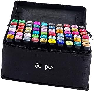 80 色图形记号笔,艺术家必备永久艺术马克笔双记号笔动画设计用于绘画上色、亮光和下衬里 黑色 60 Color 80 Color marker
