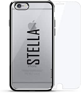 奢华镀铬系列 360 套装:设计师手机壳 + 钢化玻璃 适用于 iPhone 6/6s 银色LUX-I6CRM360-NMSTELLA2 NAME: STELLA, MODERN FONT STYLE 银色