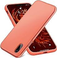 AOWIN iPhone XR 手机壳液体硅胶橡胶缓冲壳防刮超细纤维衬里硬壳防震保护壳适用于 Apple Xr 6.1 英寸 6.1 inches 橙色