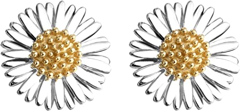 Daisy 英国品牌 18K镀金925纯银 复古系列 10mm圣诞节雏菊 女士小清新耳钉 E6081
