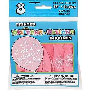 30.5cm 乳胶粉红色 It's A 女孩气球,8只装 粉色