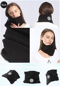 旅行枕 科学双软颈支撑枕 非常容易固定在行李上 舒适紧凑轻质围巾 非常适合飞机、火车和汽车 黑色 One size Fit all