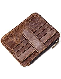 NIUCUNZH 男式皮革钱包信用卡盒 - 独特的信用卡钱包 男式