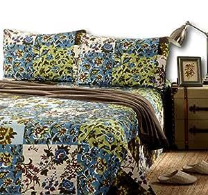 小胡子 2-3 件森林 * 纯棉春季床单套装 Brown, Green, Blue, Multi King