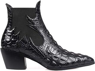 wetkiss 女式踝靴尖头粗跟弹性切尔西踝靴一脚蹬鳄鱼印花西部靴