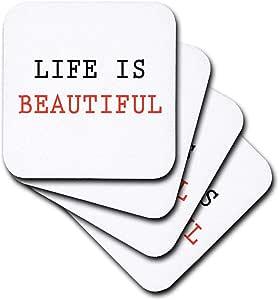 3D Rose Life is Beautiful Soft 杯垫,多色