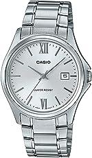 Casio MTP1404D-7A2 男式礼服不锈钢银色表盘 3 指针模拟日期手表