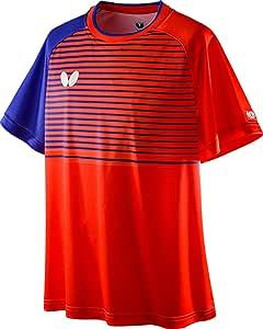 蝴蝶(Butterfly) 乒乓球 比赛衬衫 线条优点・衬衫 男女兼用 正式比赛用 吸水 速干 45630 猩红 S