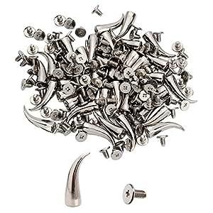Chili 形状锥形尖钉螺丝回旋螺柱 DIY 工艺冷铆钉朋克螺柱 17.78cm 0.64cm x 1.91cm 银色 银色 10 PCS PS-CH721S-10