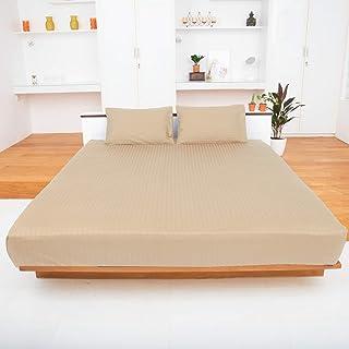 Westbrooke Linens 400 TC,* 长绒超轻棉,奢华床上用品,*店系列,适合 40.64 厘米床垫,纯色缎纹编织,床单套装褶边 棕褐色 两个