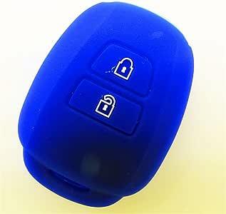 丰田 Corolla Camry Hwota 汽车钥匙保护壳 远程修改 2 粒扣硅胶钥匙壳盖支架 蓝色