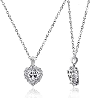 Amazon Collection 纹银(镀铑加工) 锆立晶 透明色 心形切割 光环吊坠项链