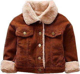 LuxFamo 中性款儿童冬季灯芯绒羊绒夹克羊毛内衬夹棉纽扣羽绒服适合小男孩女孩