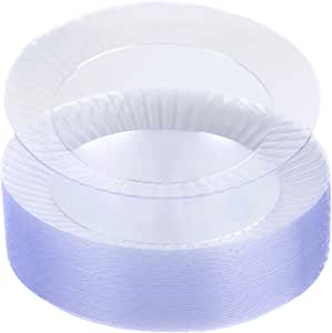 Party Essentials Deluxe Quality Hard Plastic 40 Count Round Party/Luncheon Plates, 9-Inch, Clear