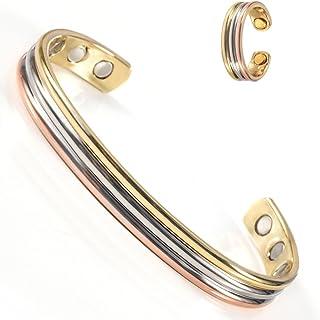 Wollet 铜手链和铜环抗**病袖口手镯女士*铜手链磁性手链适用于*或老太老父珠宝套装