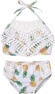 幼童女孩泳装花卉蕾丝吊带比基尼壳花朵上衣 + 短裤泳衣