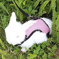 可调整的兔子背带,带弹性绳,柔软透气兔子 中号粉色 M,L