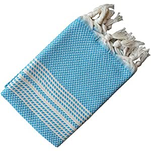 Dandelion - 人字纹图案 - 2 件套自然染色棉质土耳其手巾 - 88.9 x 48.26 cm 迈阿密蓝 35 inches x 19 inches (89 cm x 47 cm)