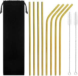 Mokpi 彩虹不锈钢吸管可重复使用的饮水吸管,带刷子和储物袋的金属吸管,适合 50 毫升的杯子冷饮 multicolour Gold-10.5''