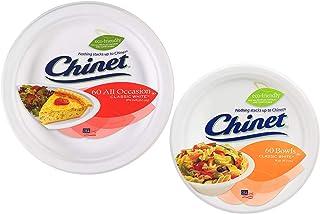 Chinet 经典捆绑 - 60 个纸碗和 60 个一次性纸盘组合 - 经典白色 453.59 克碗和各种场合 8 3/4 英寸经典白色盘