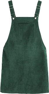 Tanming 女式灯芯绒 A 字型可爱套头衫 围兜 迷你裙