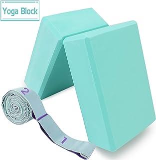 oscaurt 瑜伽砖 2 件装,带肩带,高* EVA 泡沫瑜伽砖,带弹性拉伸带,11 个环,适用于瑜伽物*法、舞蹈和普拉提