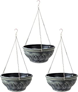 Saim 悬挂式花盆 – 9.1 英寸(约 23.1 厘米)室内室外阳台悬挂篮露台树脂套装 3 件套适用于草莓、番茄、花卉和草本户外种植器 Cyan grey