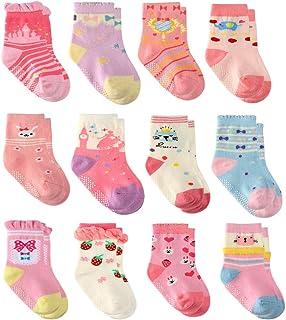 Grip 短袜女婴 - 6/12 双厚 * 纯棉 - 幼儿女孩儿童袜防滑/防滑