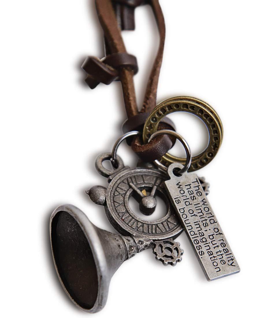 蒸汽朋克配件 - 锡合金角蒸汽朋克项链 - 皮革项链 - 哥特式珠宝复古