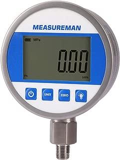 测量人 4 英寸表盘,数字液压工业压力计,带 1/4 英寸 NPT 下安装,不锈钢外壳和连接,0-10000 psi/bar,0.4 %,电池和微型 USB 供电,带 LED 灯