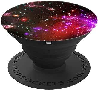粉色星云图案太空主题设计 PopSockets 手机和平板电脑握架260027  黑色