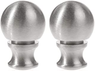 Saim Lamp Finials 装饰拉丝镍金属球形灯饰饰 3.81 厘米银色 - 2 件装