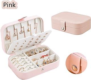 双层首饰收纳盒 女士天鹅绒内衬珠宝展示盒 适用于项链耳环手镯和链子(粉色)