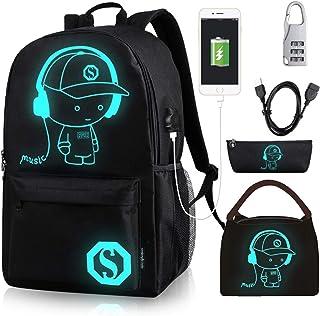 Oslimea 帆布书包男孩女孩学院动漫发光背包15.6 英寸 USB 轻质日用背包卡通书包午餐包铅笔盒