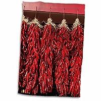 3D Rose Chili Peppers 在太阳天鹅绒市干燥,美国新墨西哥州。 twl_208254_1 毛巾,15 英寸 x 22 英寸