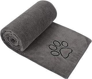 SUNLAND 超柔软狗狗毛巾超吸水宠物沐浴干燥毛巾超细纤维宠物毛毯保暖床罩适合小型中大型狗狗和猫咪