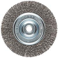 "Weiler 36000 Vortec Pro 5/8""-1/2""弧线,6""直径,0.014""线尺寸,碳钢刷毛,窄脸,卷线轮刷"