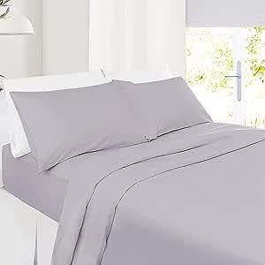 Setaluna 12 英寸床单 – 4 件套床单 - 酒店床单 - 超软超细纤维床单 Light Gray Lavender Split King