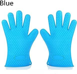 Fly Mida 硅胶烤箱手套防水防滑设计 BBQ 烹饪手套,用于烧烤、烧烤、烹饪(两件装) 蓝色 10.5 X 7 inch(27 X 18cm)