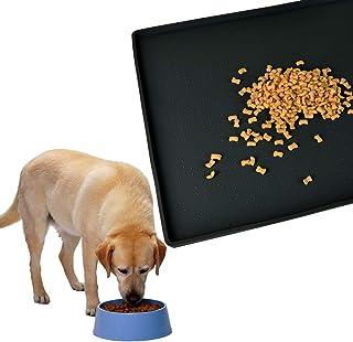 Gosmol 狗粮托盘 24 x 16 英寸(约 61 x 40.6 厘米)大号,宠物食品垫地板防水,0.5 英寸(约 1.3 厘米)凸边狗狗喂食垫,可水洗橡胶狗垫