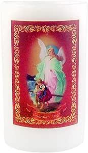花园派对蜡烛系列天主教蜡无焰 LED 蜡烛,带祈祷,12.7 cm Guardian Angel