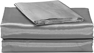 EliteHomeProducts EHP 超柔丝绸缎床单套装(纯色/深口袋) 银色 King