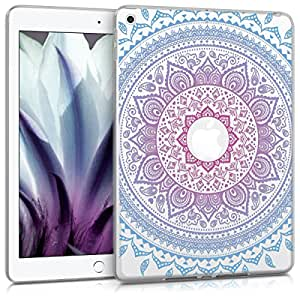 kwmobile * case for Apple iPad 9.7 (2017) TPU silicon case tablet protective case cover with Design Indian sun in blue dark pink transparent Indian sun blue dark pink transparent