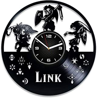DecorStudioUA 挂钟 Zelda 生日礼物 塞尔达传说时钟塞尔达礼物送给玩家塞尔达乙烯树脂时钟 Zelda 乙烯基唱片礼物塞尔达传说 挂钟 大号