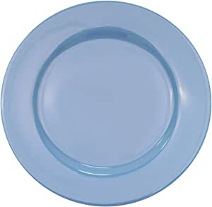 CAC China LV-16-LB 10-1/2-Inch Las Vegas Rolled Edge Stoneware Plate, Light Blue, Box of 12