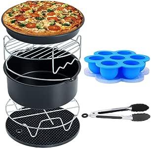 Air Fryer 配件深油炸锅通用,蛋糕桶,披萨平底锅,硅胶垫,悬臂架,金属支架,适用于所有 3.7Qt - 5.3Qt - 5.8Qt 来自 RJUN Egg Bites